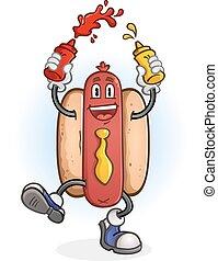 Hot Dog Dancing Cartoon Character