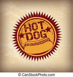 Hot dog over vintage background vector illustration