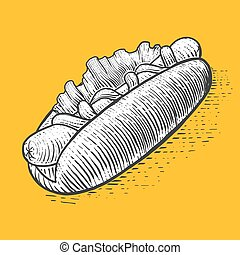 Hot dog fast food engraving style vector