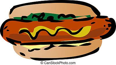 Hot dog fast food, hand drawn inked look illustration