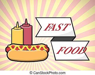 Hot dog fast food over vector illustration