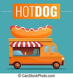 Hot dog food truck poster, vector illustration