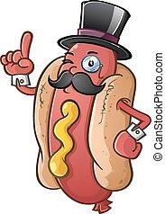 hot dog, gentiluomo, cartone animato, carattere