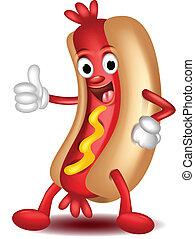 hot-dog, haut, dessin animé, pouces