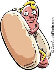 hot-dog, heureux