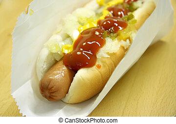 Hot dog - Hotdog fastfood sausage in bun with condiments