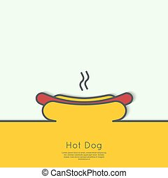 Hot Dog icon. Sausage grilled in a fresh bun. Outline with a...