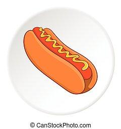 Hot dog icon, isometric style