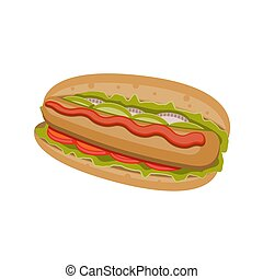 Hot dog icon on a white isolated background. Vector image