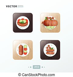 Hot dog Icons design food on wood