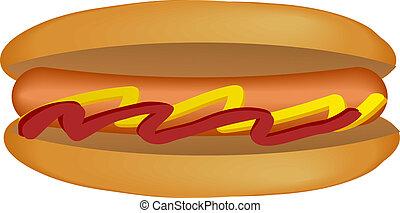 Hot dog illustration - Hot dog, isometric illustration