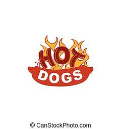 hot dog illustration logo design concept template