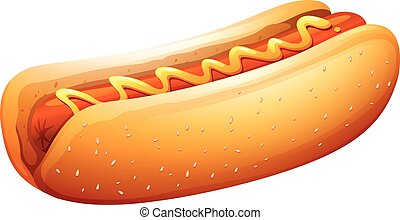 Hot dog in bun with mustard on top illustration