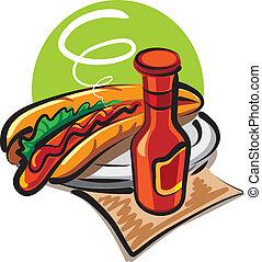 hot dog, ketchup
