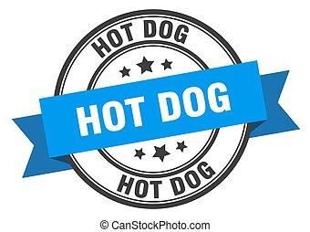 hot dog label. hot dog blue band sign. hot dog
