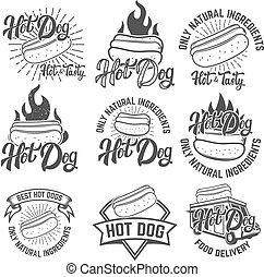hot dog labels. Handwritten lettering logo, label, badge. Isolat