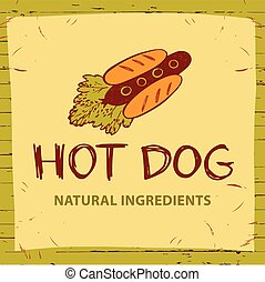 Hot dog logo for eco natural product.