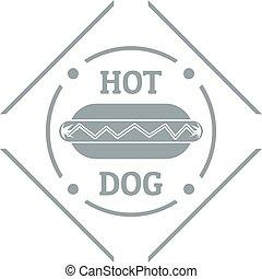 Hot dog logo, simple gray style