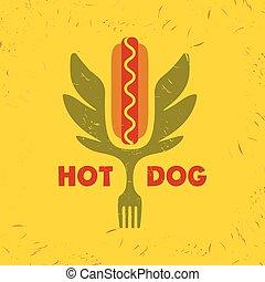 Hot dog logo. Vector logo for fast food