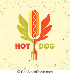 Hot dog logo. Vector logo for fast food.