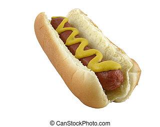 Hot dog on a bun, with mustard