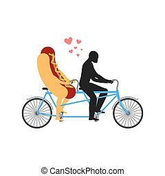 Hot dog on bicycle. Lovers of cycling. Man rolls fast food on tandem. Joint walk with a meal. Romantic rendezvous street and sausage. Romantic illustration undershot