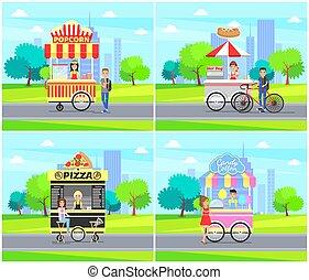 Hot Dog Pizza Street Sellers Vector Illustration