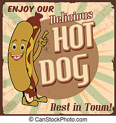 Hot dog poster - Vintage hot dog background, vector...