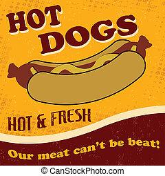 Hot dog poster - Vintage hot dog retro background, vector...