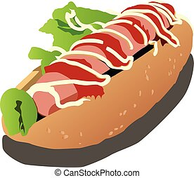 hot dog realistic vector illustration isolated