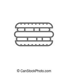Hot dog, sandwich, street food line icon.