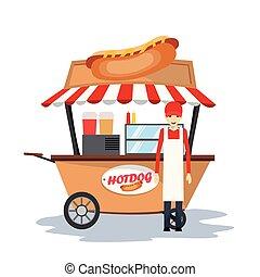 hot dog seller, soda in the car