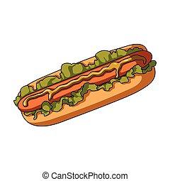 Hot dog, single icon in cartoon style.Hot dog vector symbol stock illustration web.