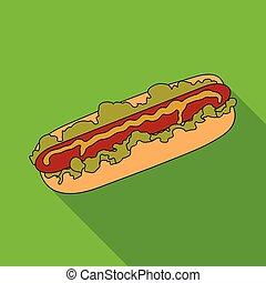 Hot dog, single icon in flat style.Hot dog vector symbol stock illustration web.