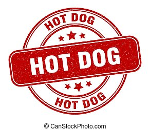 hot dog stamp. hot dog label. round grunge sign