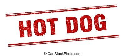 hot dog stamp. hot dog label. square grunge sign