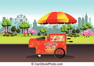 A vector illustration of hot dog stand with city buildings in the background