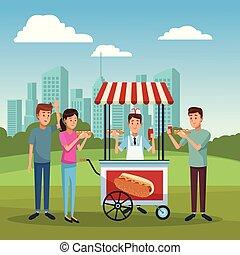 Hot dog stand at city