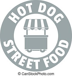 Hot dog stand logo, simple gray style