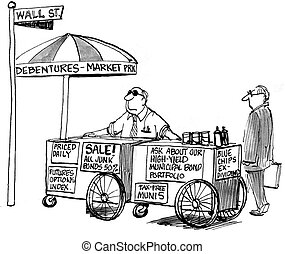 Hot dog stand on Wall Street with offers - Hot dog stand of...