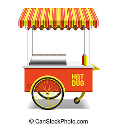 Hot dog, street cart illustration