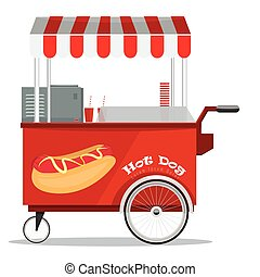 Hot dog street cart with awning. Flat and solid color vector...