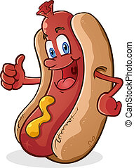 A hot dog cartoon character with a huge smile on his face giving a thumbs up