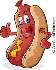 Hot Dog Thumbs Up Cartoon Character - A hot dog cartoon...