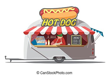 Hot dog trailer. Fast food. Isolated. Vector illustration