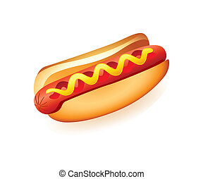Hot-dog - Classic american fast food sausage with mustard...