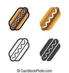 Hot dog vector colored icon set