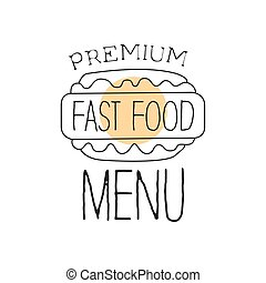 Hot Dog View From Above Premium Quality Fast Food Street Cafe Menu Promotion Sign In Simple Hand Drawn Design Vector Illustration