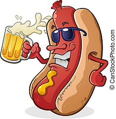 Hot Dog Wearing Sunglasses Drinking Beer