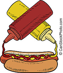 Hot dog with condiments sketch - Doodle style hot dog with ...
